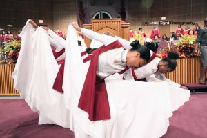 The praise dancers of the Apostolic Faith Church.  Louis Byrd photographer